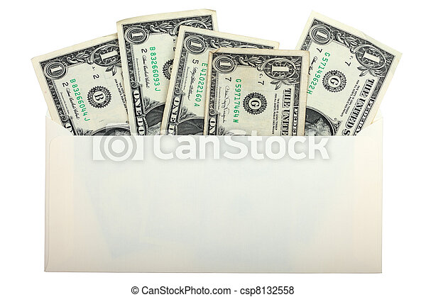 conceptual photo of US dollars inside envelope isolated on white background. - csp8132558