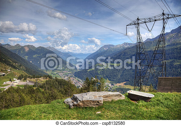Modern aerial view of swiss alps - powerline, roads and strange bath. - csp8132580