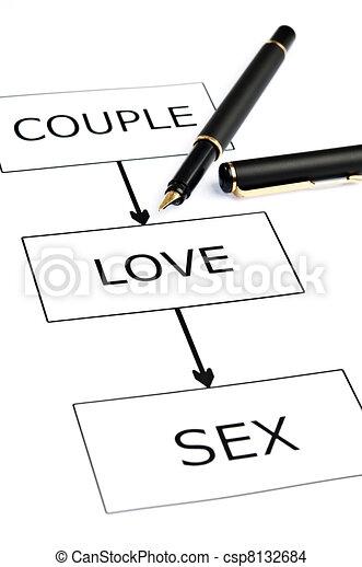 Couple scheme and pen on white - csp8132684