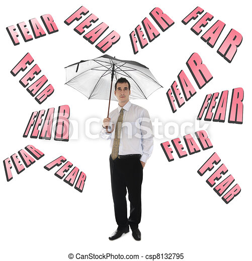 Fear word and business man with umbrella - csp8132795