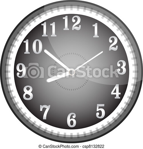 Silver vector wall clock with black face - csp8132822