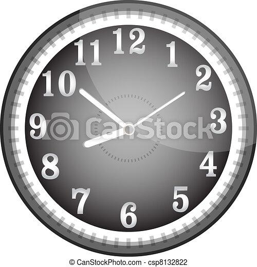 Silver vector wall clock with black face - csp8132822