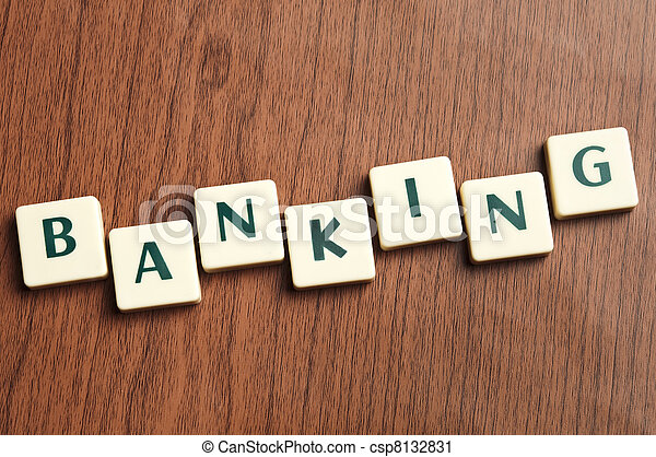 Banking word made by letter pieces  - csp8132831