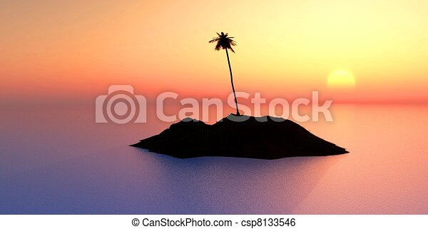 coconut tree on island at sunset - csp8133546