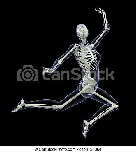 Skeleton in Motion - Woman Leaping 1 - csp8134364