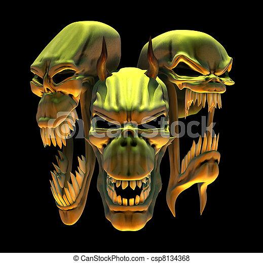 Laughing Demon Skulls - csp8134368