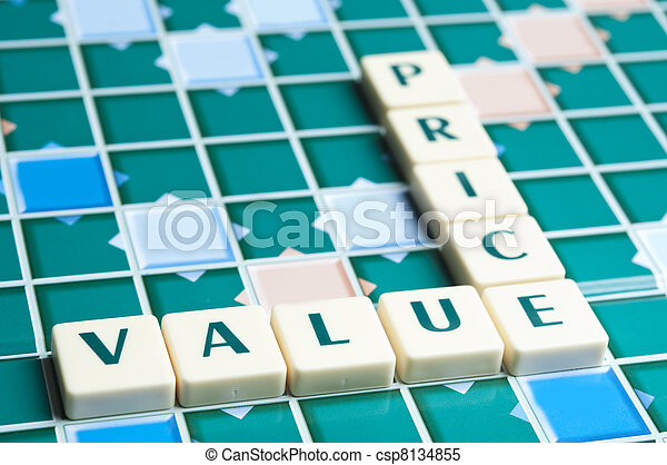 Price and Value word made by letter pieces - csp8134855