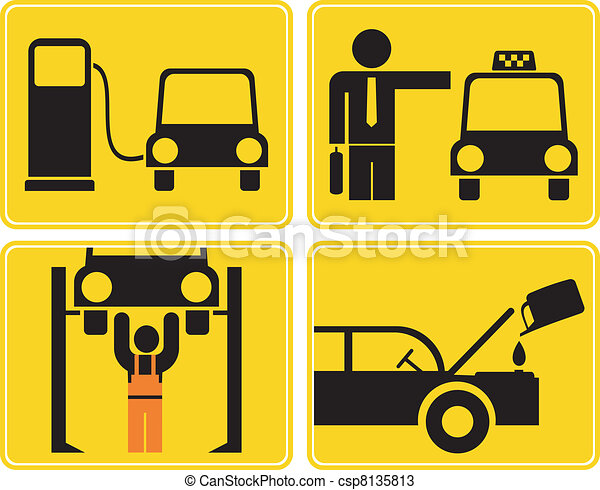 Autoservice, fuel station - signs - csp8135813