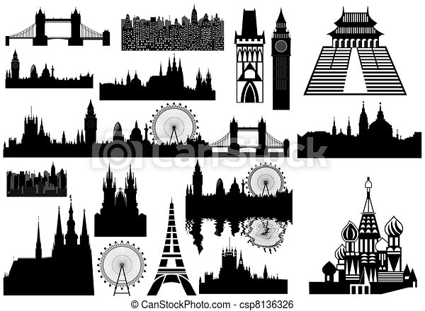 world landmarks - vector - csp8136326