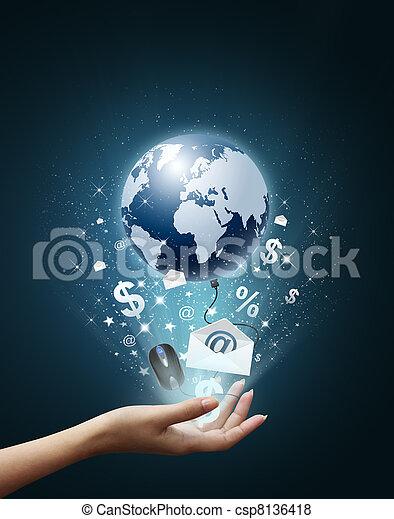 värld, teknologi, min,  hand - csp8136418