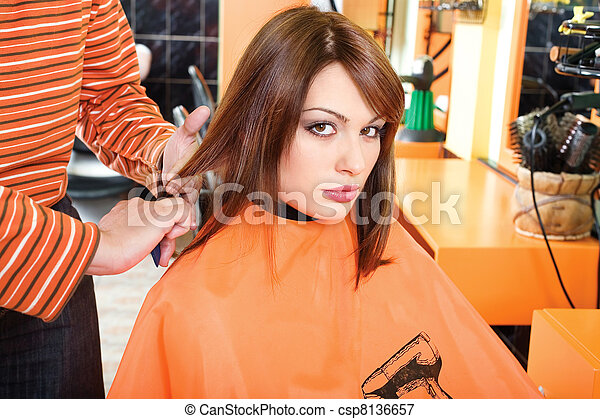 Preparing hair for cutting - csp8136657