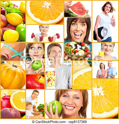 Healthy lifestyle people collage. - csp8137369