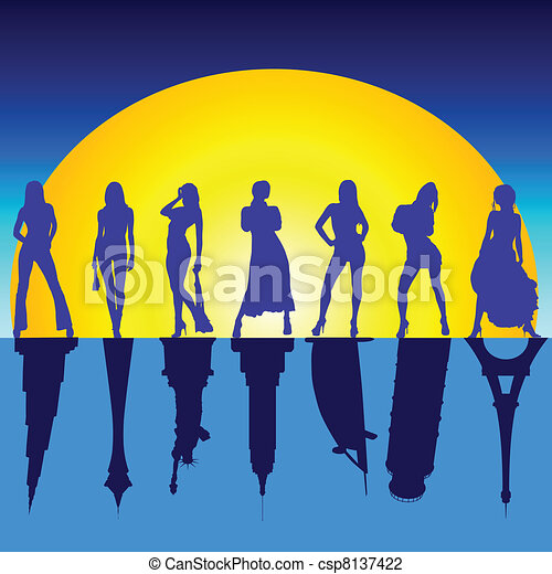 girls and famous buildings vector illustration - csp8137422