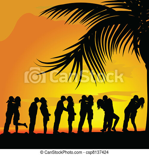 couples kissing under palm trees vector silhouette - csp8137424