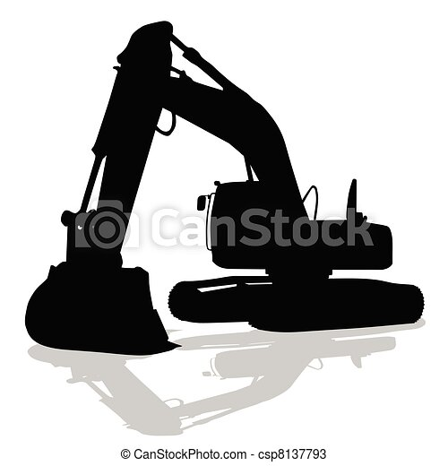 digger work machine black silhouette - csp8137793