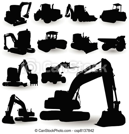 construction work machine silhouette - csp8137842