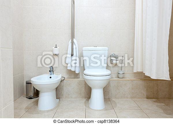 stock foto von toilette bidet wei es sauber toilette. Black Bedroom Furniture Sets. Home Design Ideas