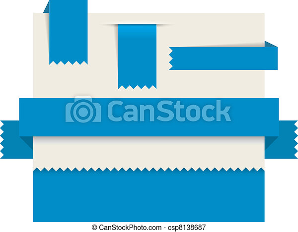 Blue paper tags - Vector ribbons - csp8138687