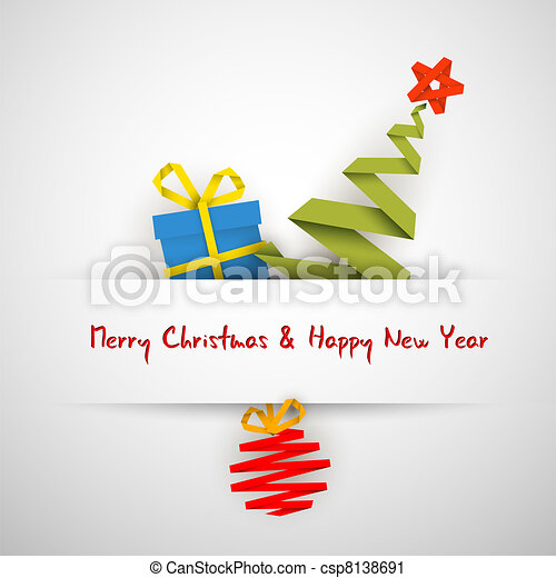 Simple vector christmas card with gift, tree and bauble - csp8138691