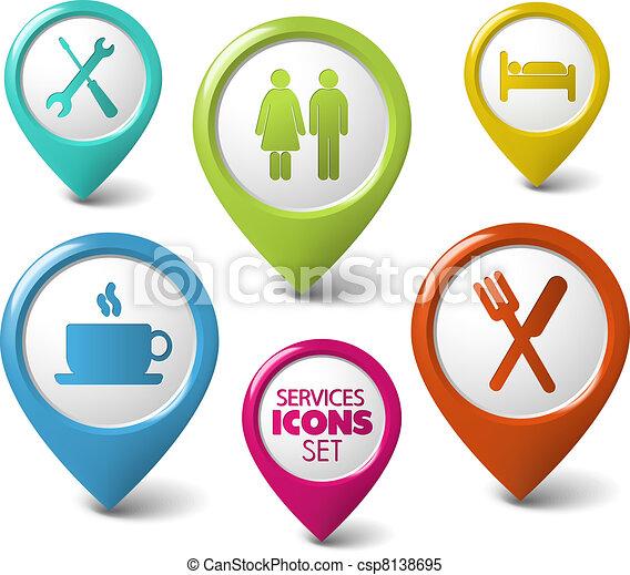 sätta, pekare, vektor, tjänsten, runda, 3 - csp8138695