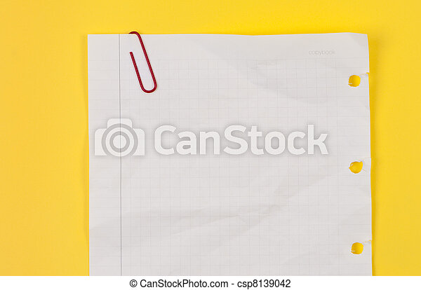 Torn crumpled sheet with paperclip. - csp8139042