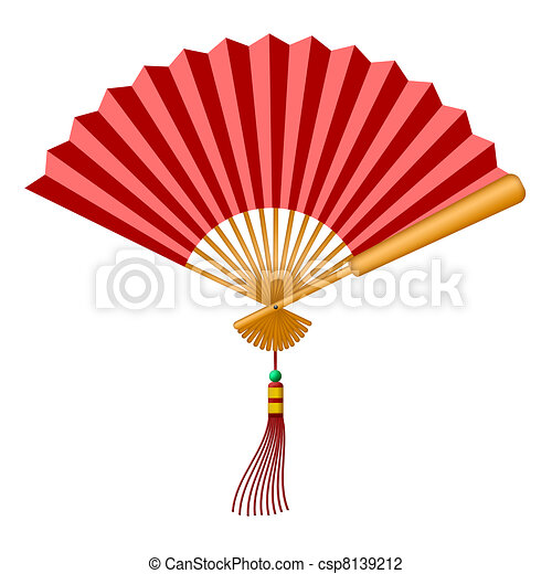 Chinese Fan with Tassel and Jade Bead - csp8139212
