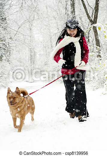 Woman walking dog - csp8139956