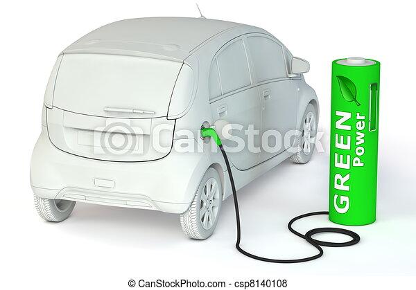 Battery Petrol Station - Green Power fuels an E-Car - csp8140108