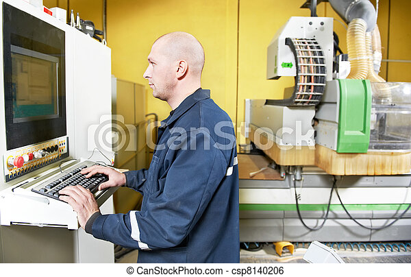 worker at furniture manufacture workshop - csp8140206