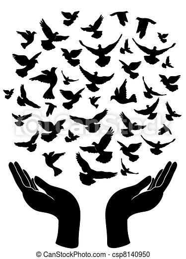 Clipart vecteur de largage pigeon paix mains les paix symbole de csp8140950 - Dessin peace and love ...