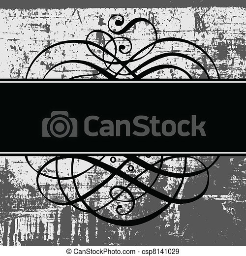 Vector Distressed Background and Ornate Frame - csp8141029
