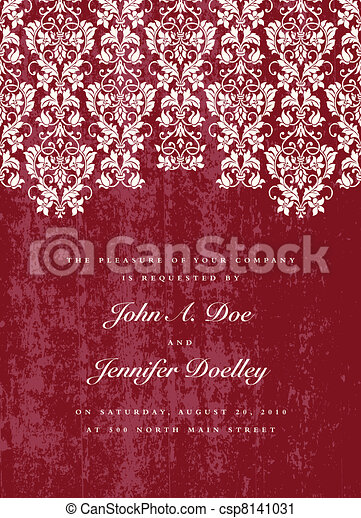 Vector Distressed Red Lace Background - csp8141031