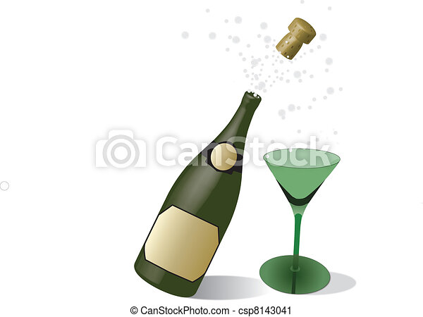 champagne and glass - csp8143041