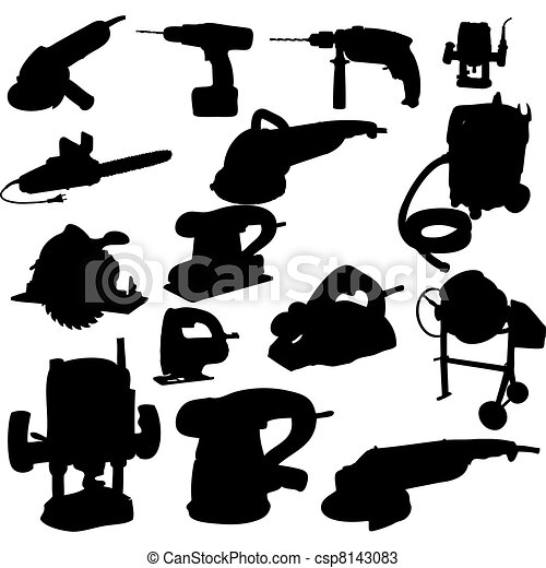 collection of power tool vector vector silhouette - csp8143083