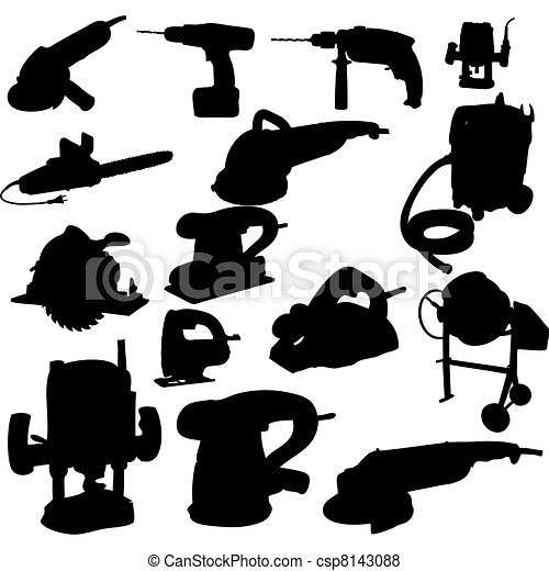 collection of power tool vector vector silhouette - csp8143088