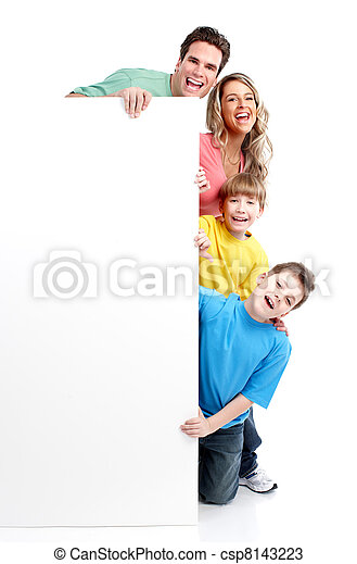 Happy family with banner. - csp8143223