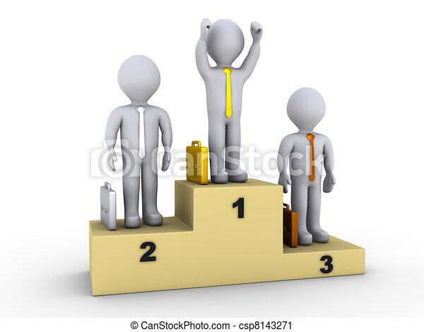 Businessmen on winners podium - csp8143271
