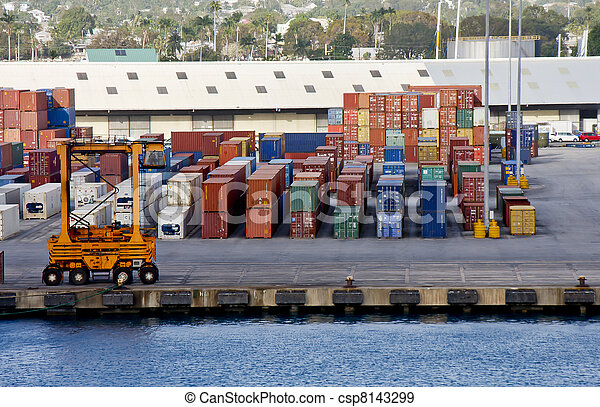 Freight Moving Machinery on Shipping Pier - csp8143299