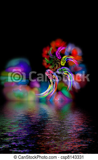 abstract magic hurricane over water, mystic color diversity - csp8143331
