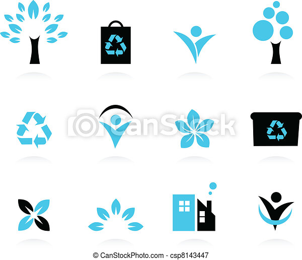 Ecology, nature and environment icons set isolated on white - csp8143447