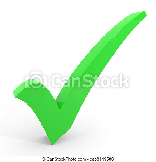 3D green checkmark on white background. - csp8143580