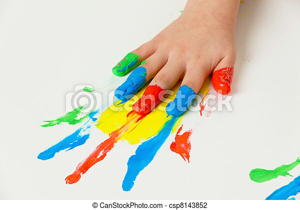 child with finger paints colors - csp8143852