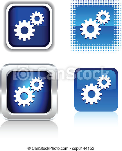 Vector Illustration of Settings icons. - Settings square ...