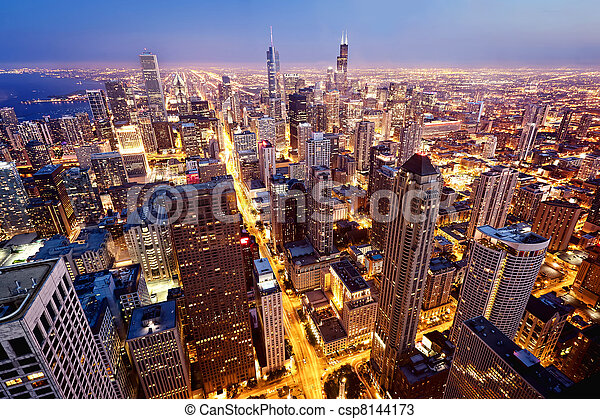 Aerial view  of Chicago downtown - csp8144173