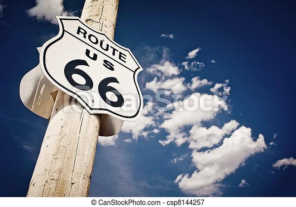 rota, histórico,  66, sinal - csp8144257