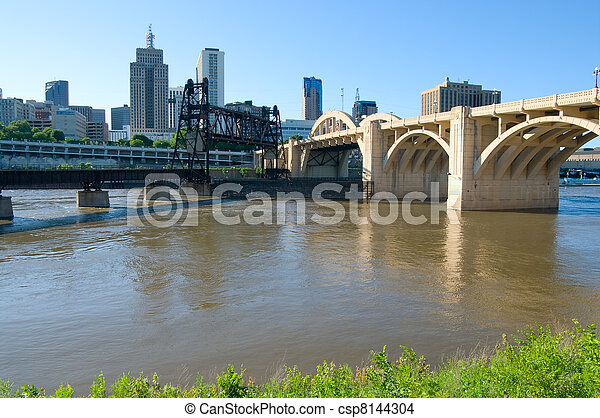 Saint Paul Bridges and Skyline - csp8144304