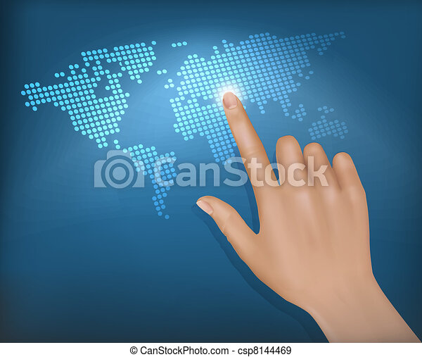 Finger touching world map - csp8144469