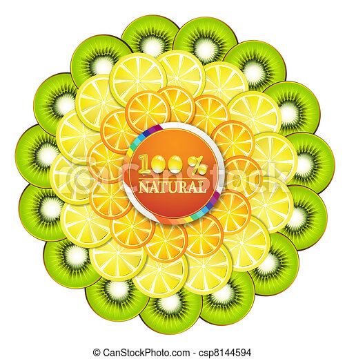 Kiwi Slice Drawing Slice of Orange Kiwi
