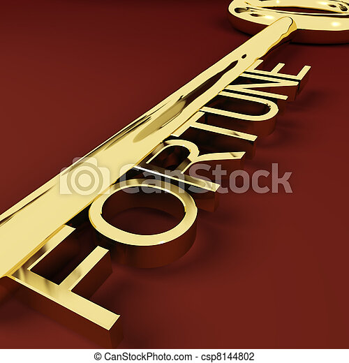 Fortune Gold Key Representing Luck And Riches - csp8144802