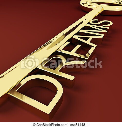 Dreams Gold Key Representing Hopes And Visions - csp8144811